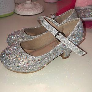 Rhinestone princess slippers with heels